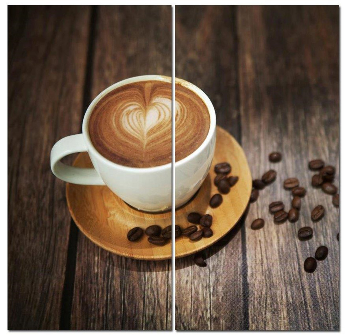 "Coffee Time Rustic Cappuccino Creation 12"" x 24"" 2 Piece Canvas Print Set"