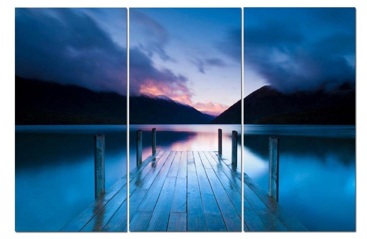 "Dock of Dreams at Dusk Dark Blue Sunset 12"" x 24"" 3 Piece Canvas Print Set"