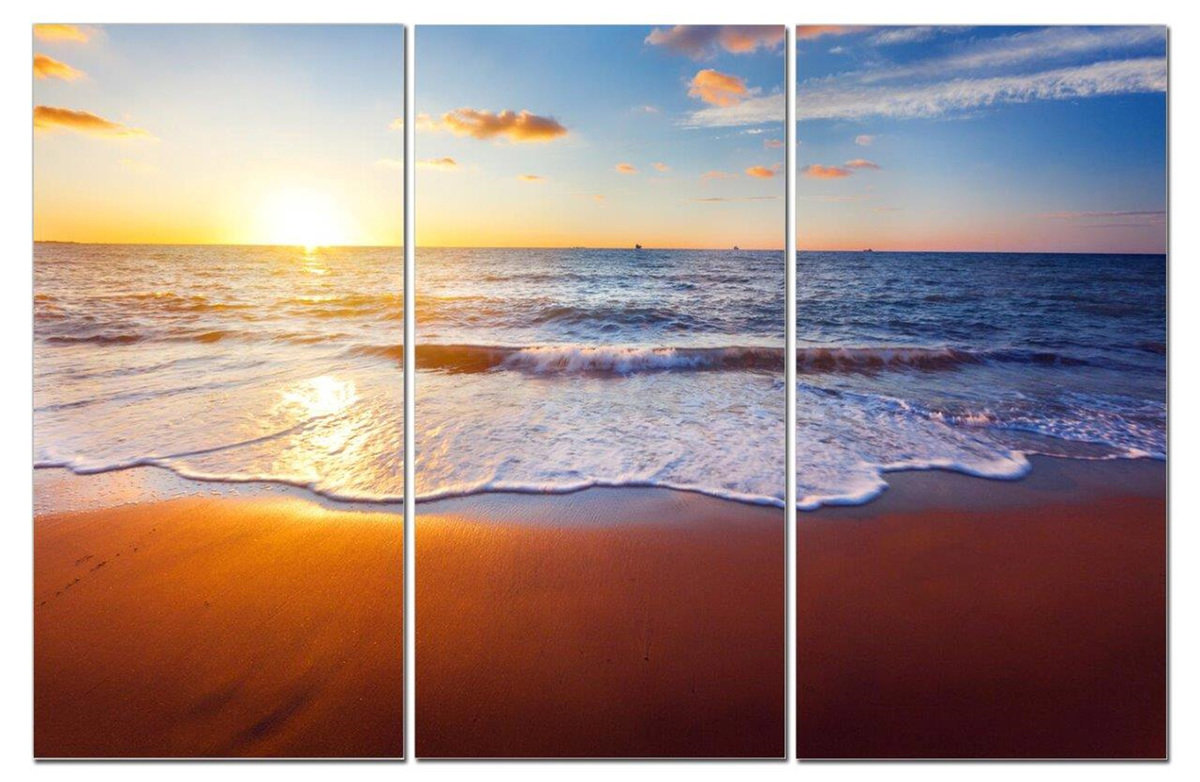 "The Perfect Sunset w/ Sand & Blue Ocean Water 12"" x 24"" 3 Piece Canvas Print Set"