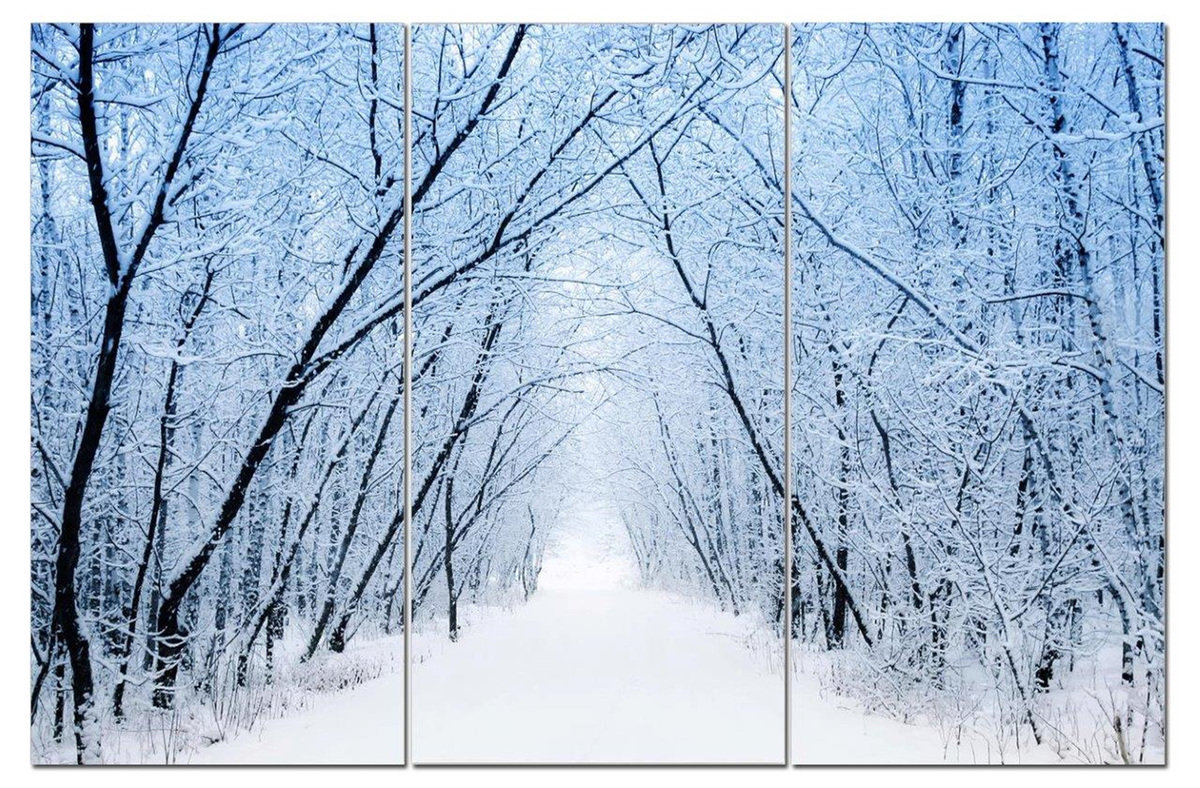 "Snowy Forest White Winter Road 12"" x 24"" 3 Piece Canvas Print Set"