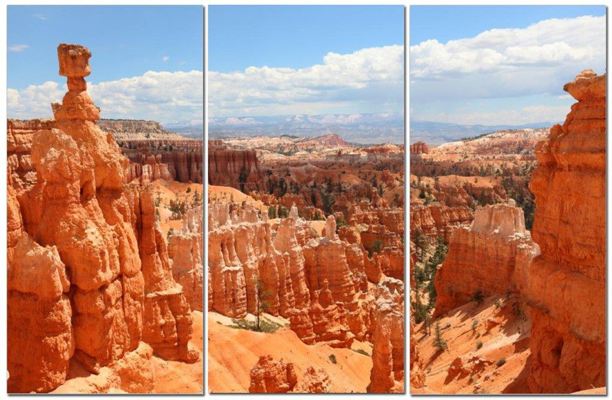 "Sunny Desert Vista in Canyon Country 12"" x 24"" 3 Piece Canvas Print Set"
