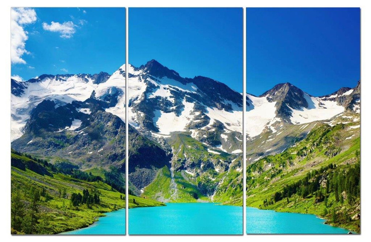 "Snowy Mountains View of Glacial Lake & Fields 12"" x 24"" 3 Piece Canvas Print Set"
