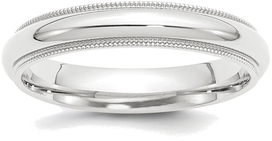Platinum 4mm Comfort Fit Milgrain Wedding Band Ring