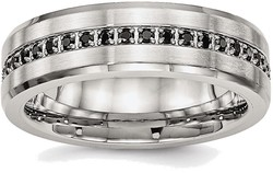 BillyTheTree Jewelry Stainless Steel Brushed and Polished Black Synthetic CZ Ring
