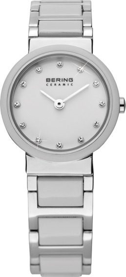 Bering Time - Ladies White Ceramic Link Watch with Swarovski Crystals 10725-754 (Women's)