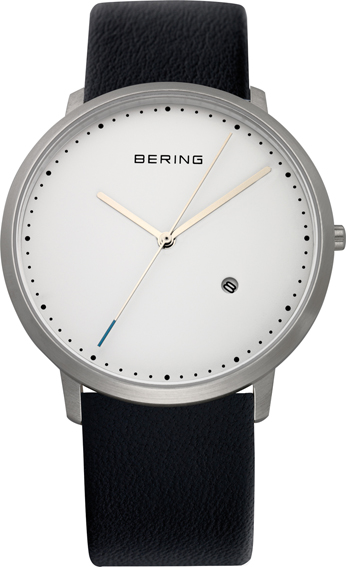 Bering Time - Classic - Mens Black Leather Watch with White Dial 11139-404