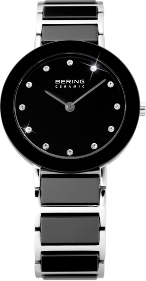 Bering Time - Ladies Black Ceramic Link Watch with Swarovski Crystals 11429-742 (Womens)