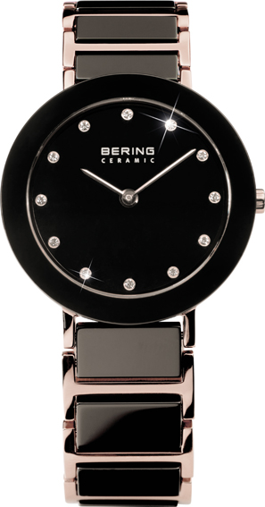 Bering Time - Ladies Rose Gold & Black Ceramic Link Watch with Swarovski Crystals 11429-746 (Womens)