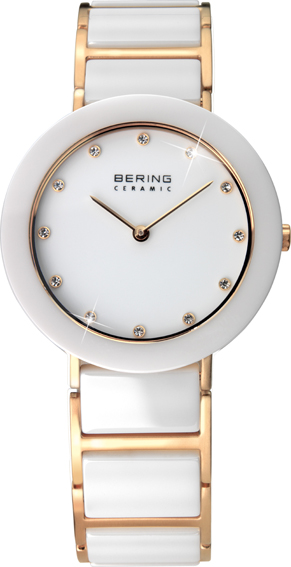 Bering Time - Ladies Gold & White Ceramic Link Watch with Swarovski Crystals 11429-751 (Womens)