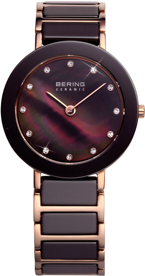 Bering Time - Ladies Rose Gold & Brown Ceramic Watch with Swarovski Crystals 11429-765 (Women's)