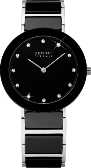 Bering Time - Ladies Black Ceramic Link Watch with Swarovski Crystals 11435-749 (Women's)