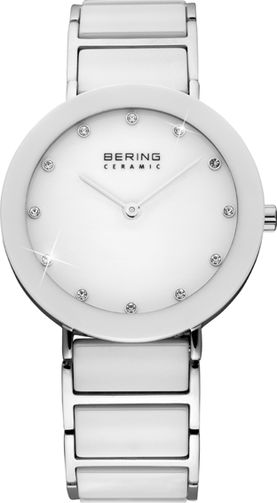 Bering Time - Ladies White Ceramic Link Watch with Swarovski Crystals 11435-754 (Women's)