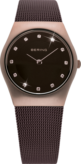 Bering Time - Classic - Ladies Brown Mesh Swarovski Crystal Watch 11927-262 (Women's)