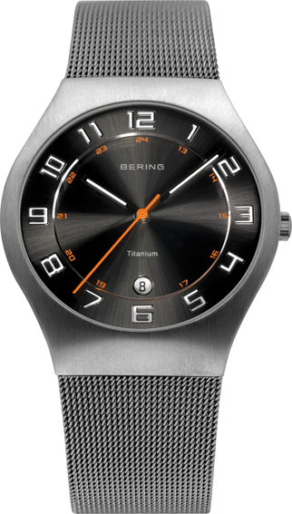 Bering Time - Classic - Men's Silver Titanium Mesh Watch with Black Dial 11937-007