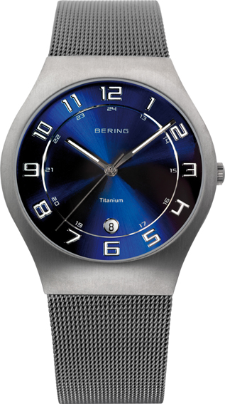Bering Time - Classic - Men's Silver Titanium Mesh Watch with Blue Dial 11937-078