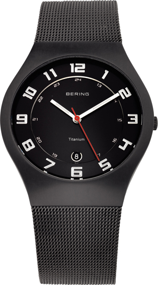 Bering Time - Classic - Mens Black Titanium Case Mesh Watch 11937-222 - LIMITED STOCK