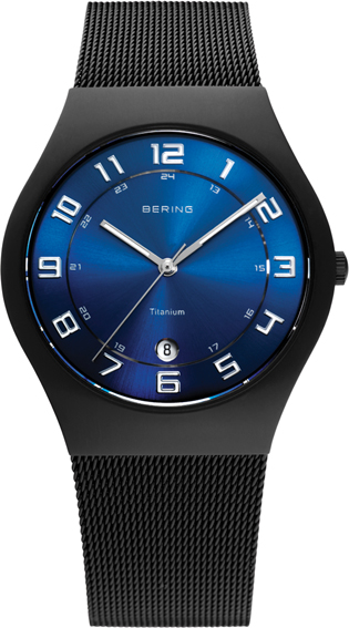 Bering Time - Classic - Men's Black Titanium Mesh Watch with Blue Dial 11937-227