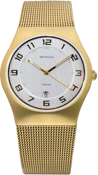 Bering Time - Classic - Mens Gold Mesh Watch with White Dial 11937-334