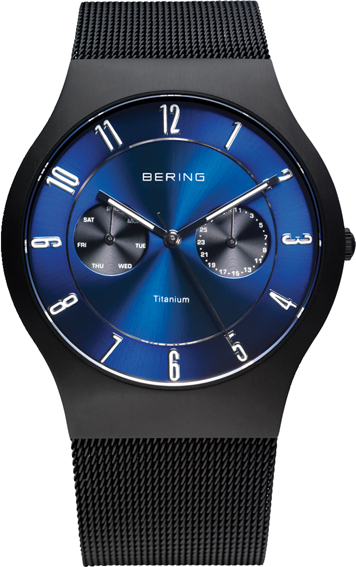 Bering Time - Classic - Men's Black Titanium Mesh Multifunction Watch with Blue Dial 11939-078