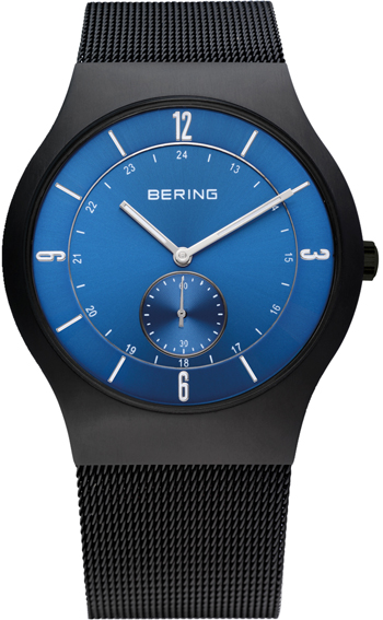 Bering Time - Classic - Men's Black Mesh Watch with Blue Dial 11940-227