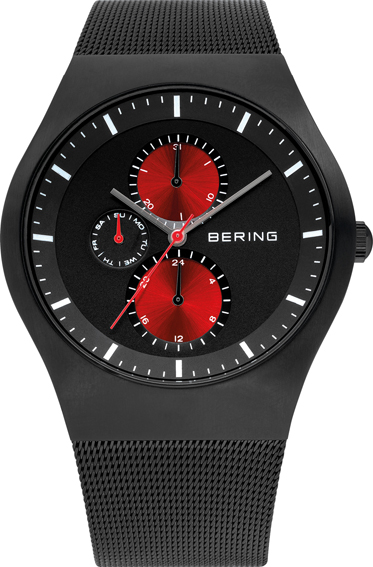 Bering Time - Classic - Mens Black & Red Multifunction Mesh Watch 11942-229
