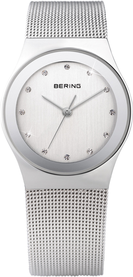 Bering Time - Classic - Ladies White Mesh Swarovski Crystal Watch 12927-000 (Women's)