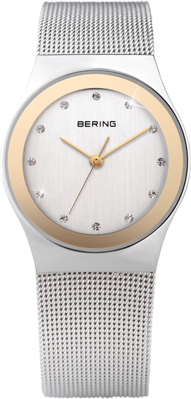 Bering Time - Classic - Ladies Silver & Gold Mesh Swarovski Crystal Watch 12927-010 (Women's)