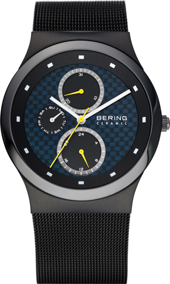 Bering Time - Mens Dark Grey Ceramic Watch with Blue Dial 32139-228