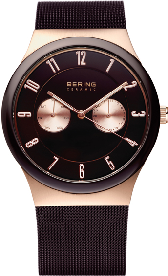 Bering Time - Men's Rose Gold & Black Ceramic Multifunction Mesh Watch 32139-265