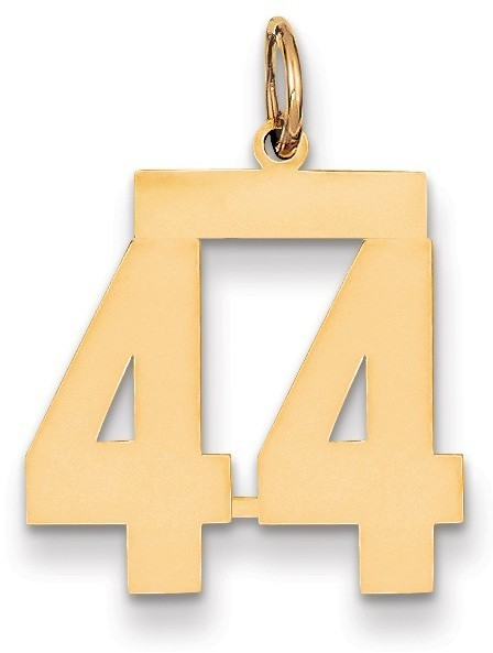14k Yellow Gold Medium Polished Number 44 Charm Lm44