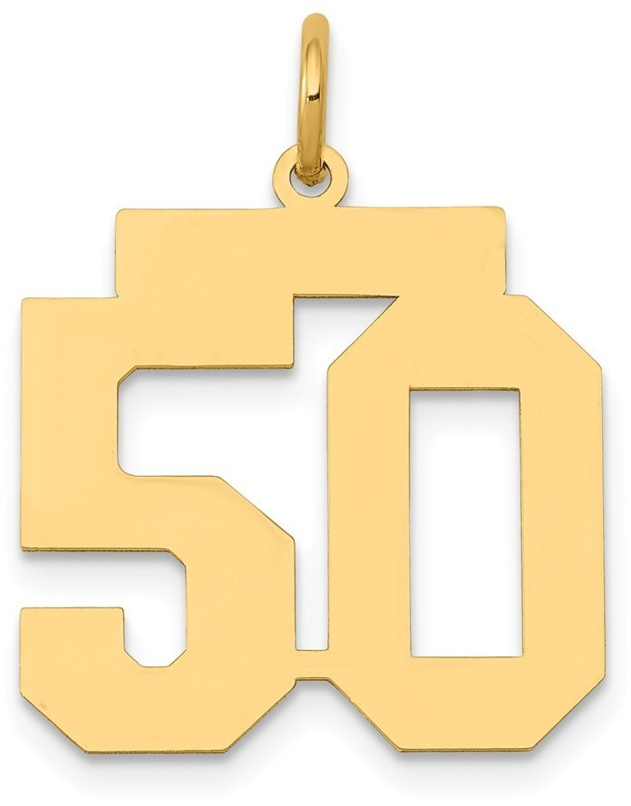 14k Yellow Gold Medium Polished Number 50 Charm Lm50
