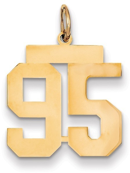 14k Yellow Gold Medium Polished Number 95 Charm Lm95