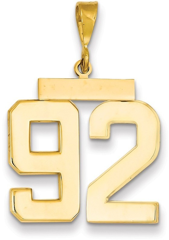 14k Yellow Gold Large Polished Number 92 Charm