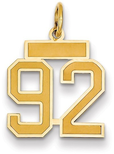 14k Yellow Gold Small Satin Number 92 Charm