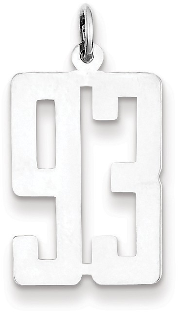 Sterling Silver Small Elongated Polished Number 93 Charm