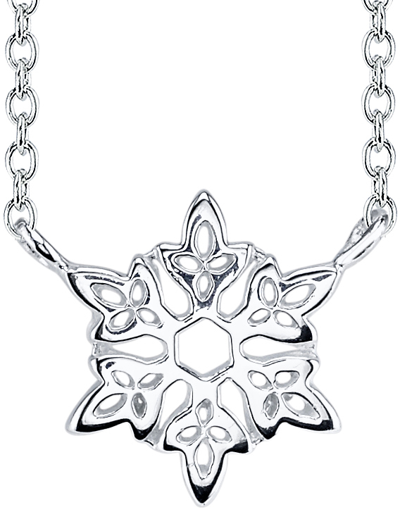 "18"" Disney Sterling Silver Frozen Snowflake Cable Chain Necklace"