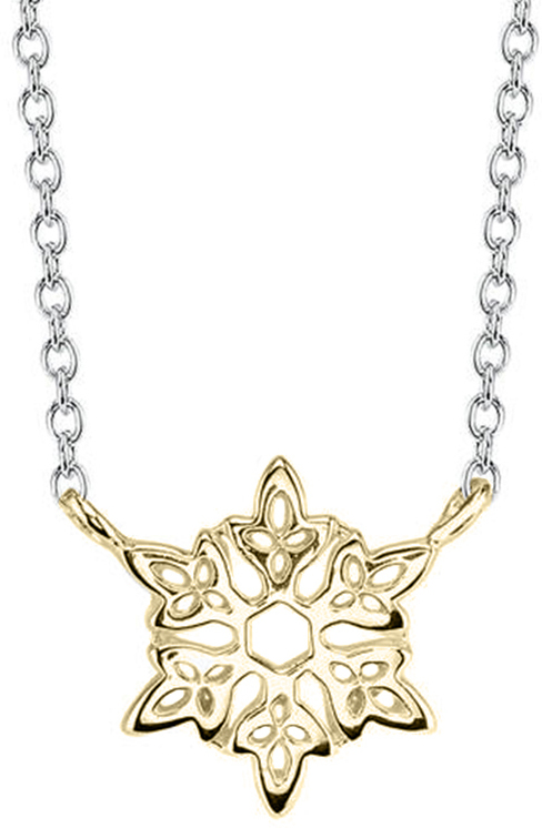 "18"" Disney 10K Yellow Gold & Sterling Silver Frozen Snowflake Chain Necklace"