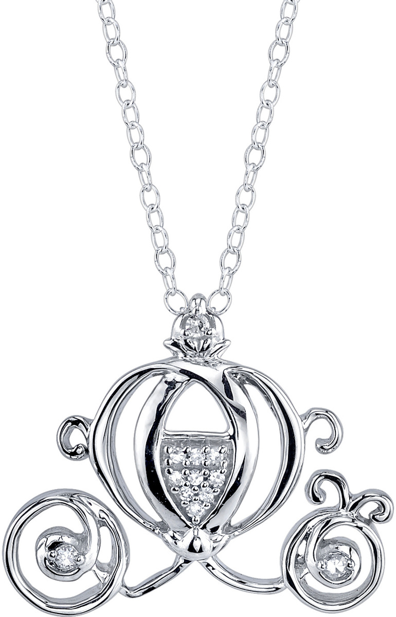 "18"" Disney Sterling Silver 1/20 ctw Diamond Cinderella Carriage Pendant Necklace"