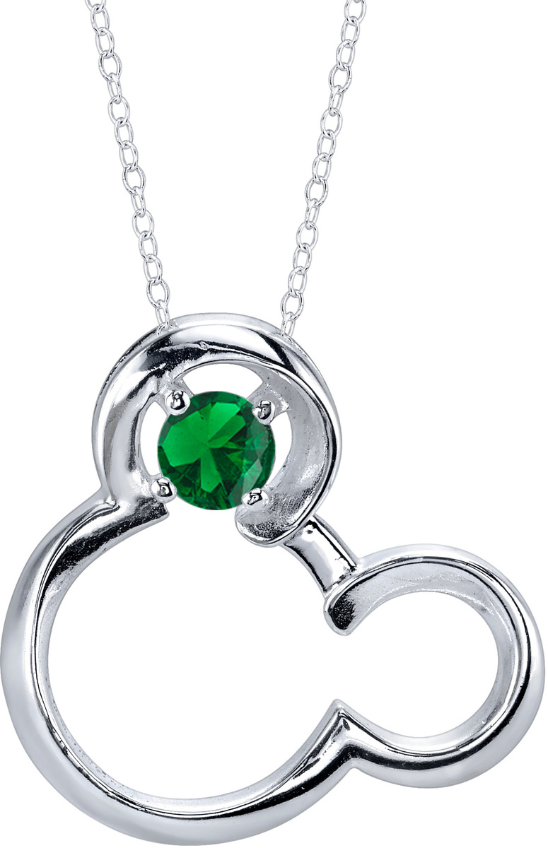 "18"" Disney 925 Silver Synthetic Emerald May Birthstone Mickey Mouse Necklace"