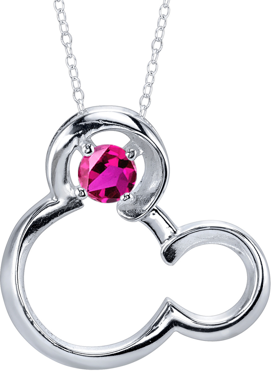 "18"" Disney Sterling Silver Synthetic Ruby July Birthstone Mickey Mouse Necklace"