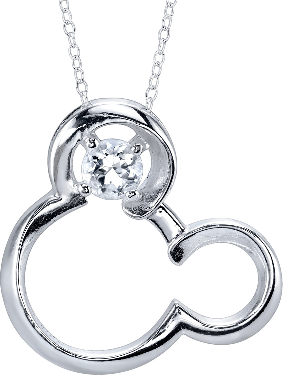 "18"" Disney Silver Synthetic White Sapphire April Birthstone Mickey Mouse Necklace"