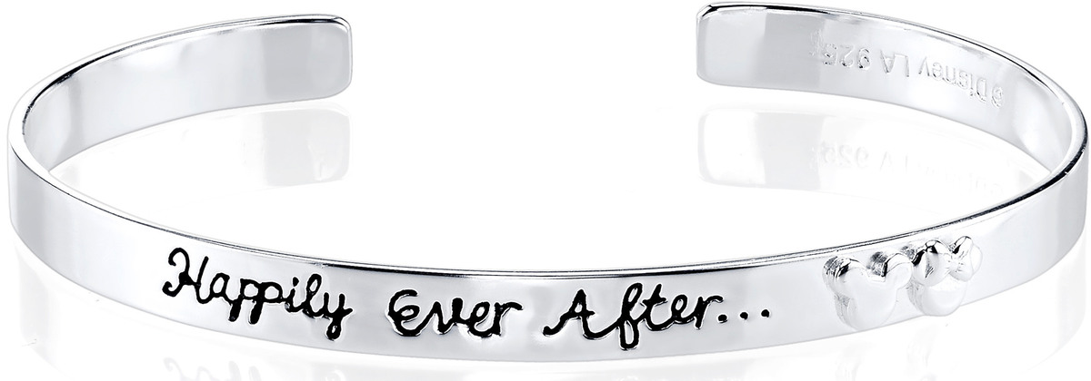 "7.5"" Disney Sterling Silver Happily Ever After Mickey Mouse Cuff Bracelet"