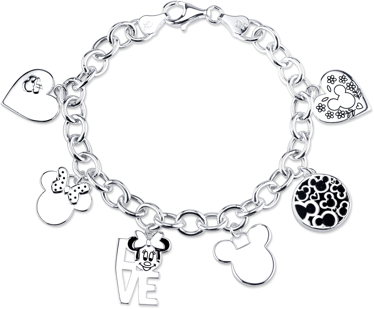 "7.5"" Disney Sterling Mickey And Minnie Mouse Charm Link Bracelet"