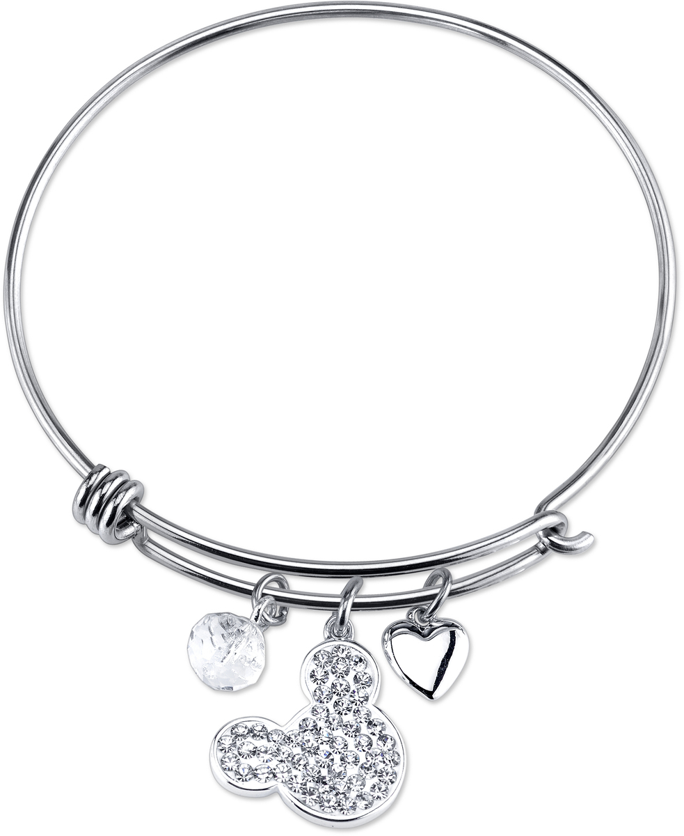"8"" Disney Sterling Silver I Love Mickey Mouse Catch Bangle Bracelet"