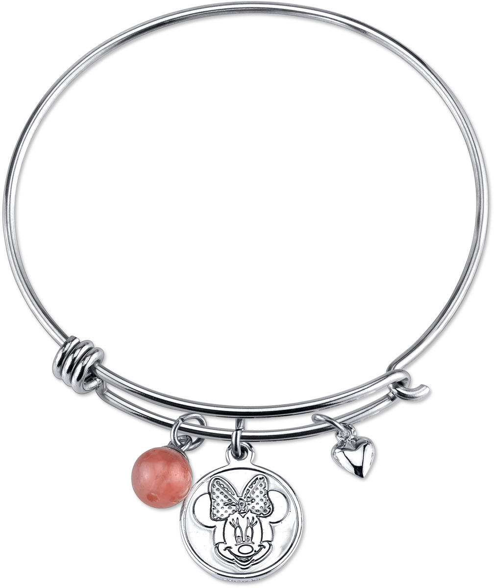 "8"" Disney Sterling Love And Kisses Minnie Mouse Catch Bangle Bracelet"