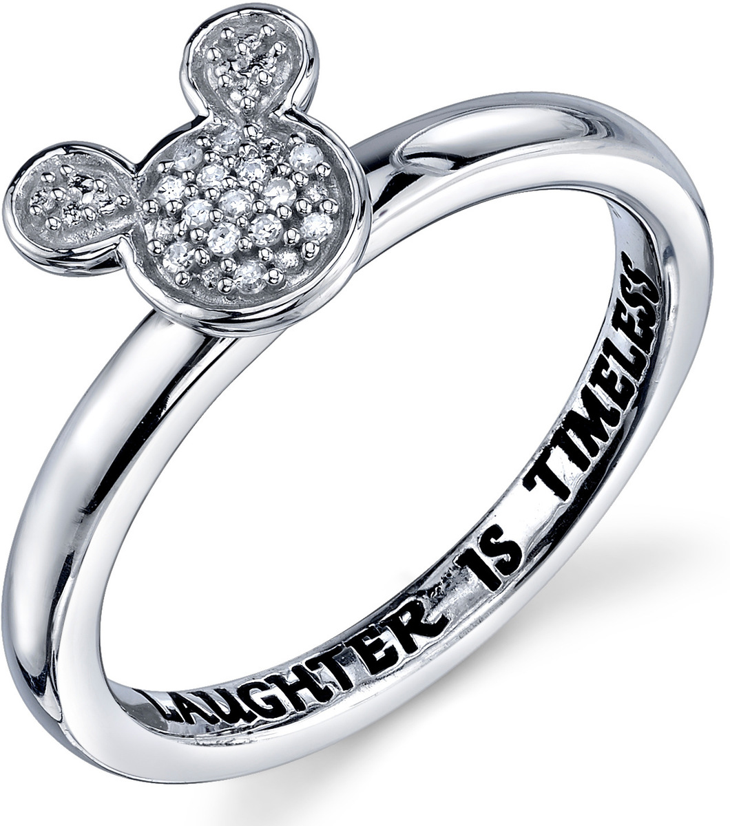 Disney Sterling Silver 1/20 ctw Diamond Laughter is Timeless Mickey Mouse Ring