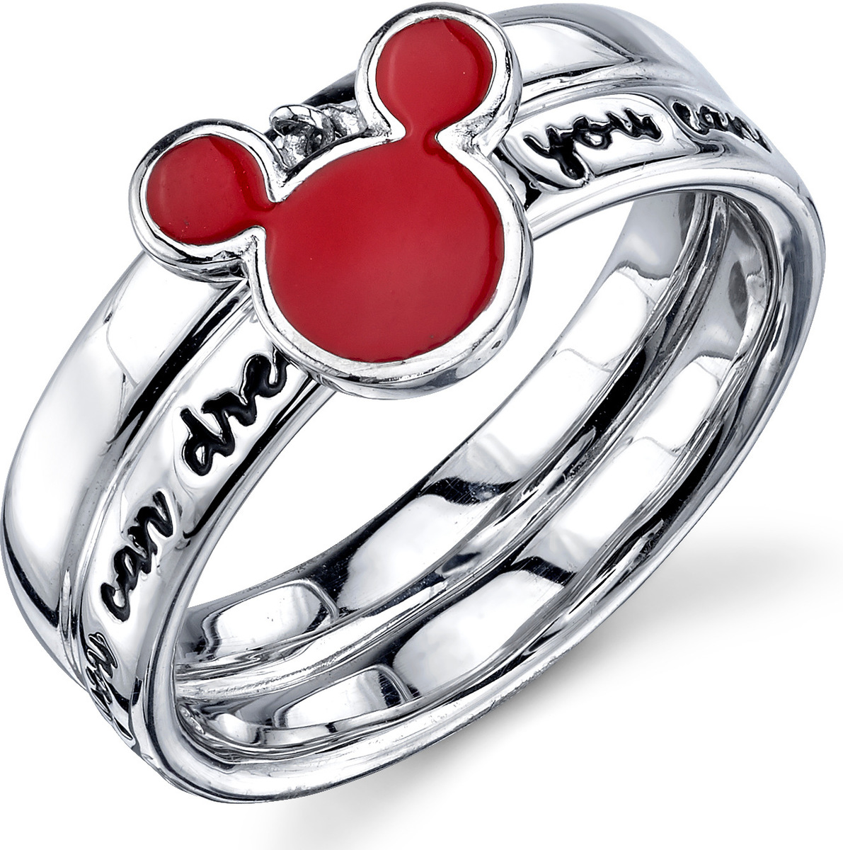 Disney Sterling Silver Red Enamel If You Can Dream It Mickey Mouse Ring