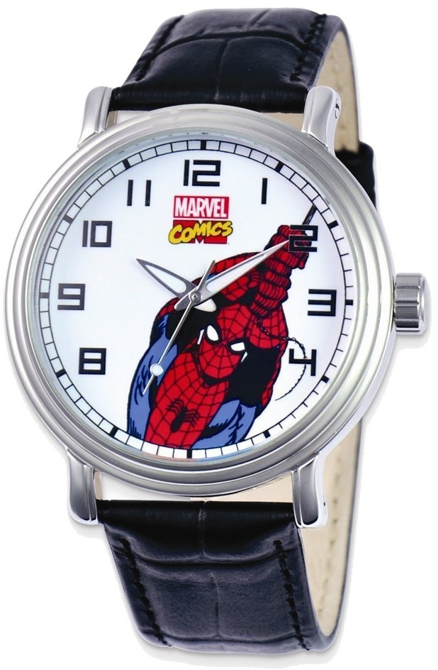 Marvel Adult Size Black Leather Strap Spiderman Watch