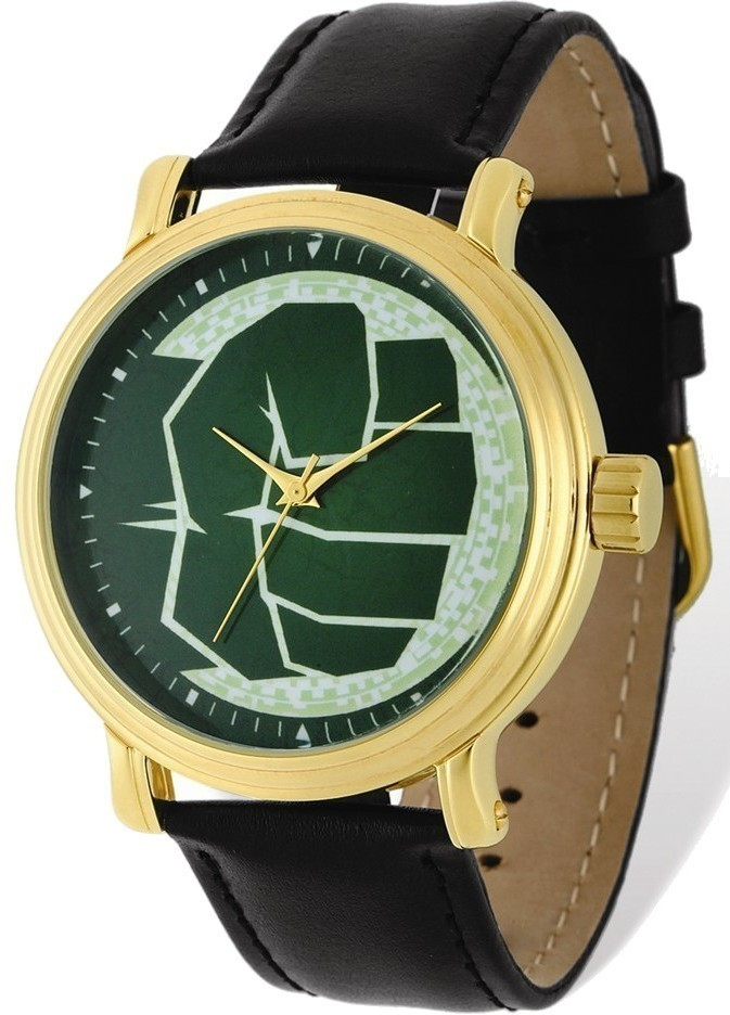 Marvel Adult Size Hulk Black Leather Band Gold-tone Watch