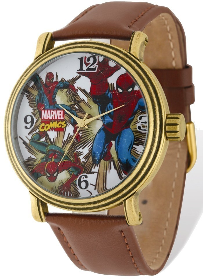 Marvel Adult Size Spiderman Gold-tone Brown Leather Band Watch